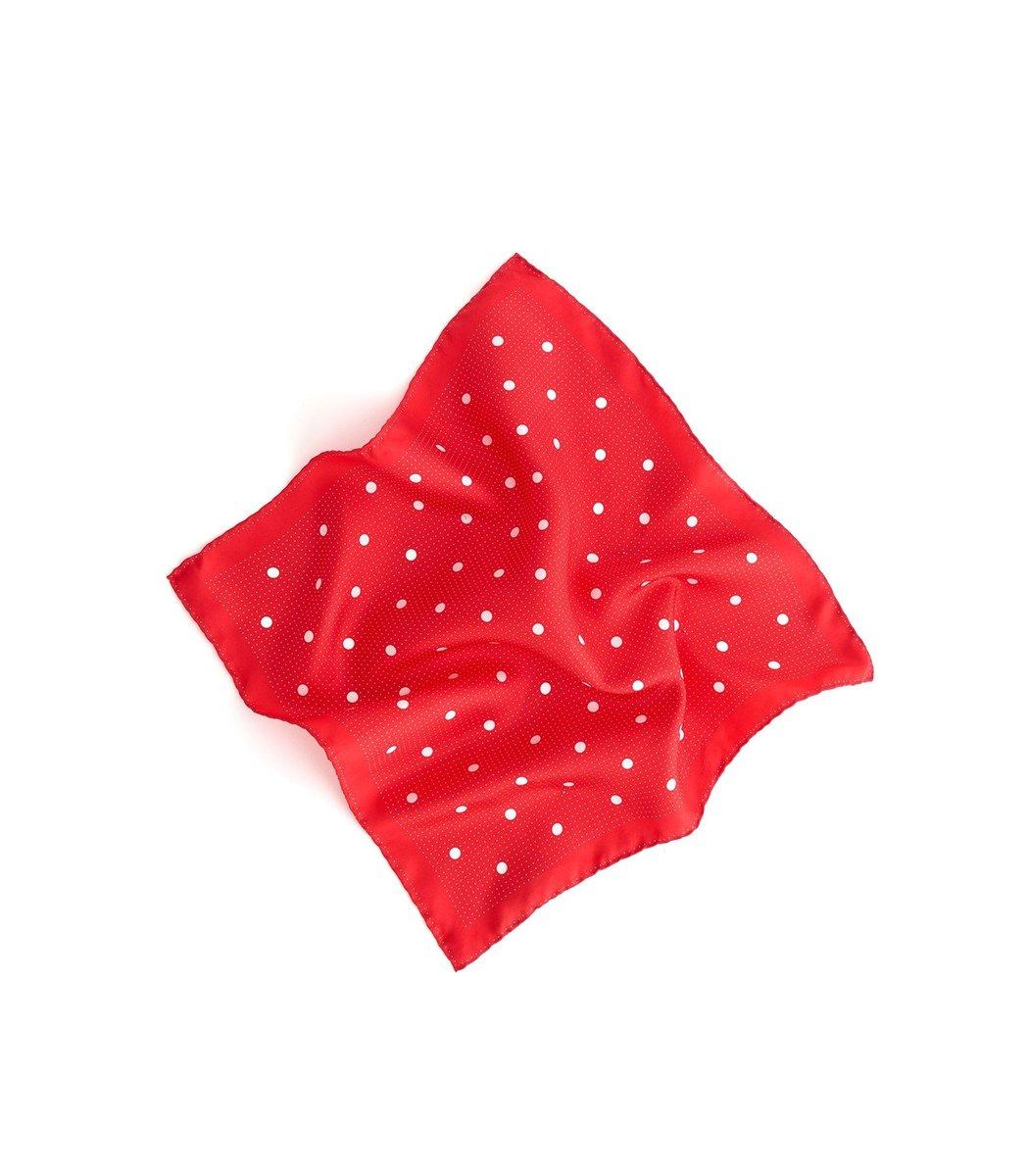Alex Mill Multi Dots Silk Scarf in Ecru/Tomato