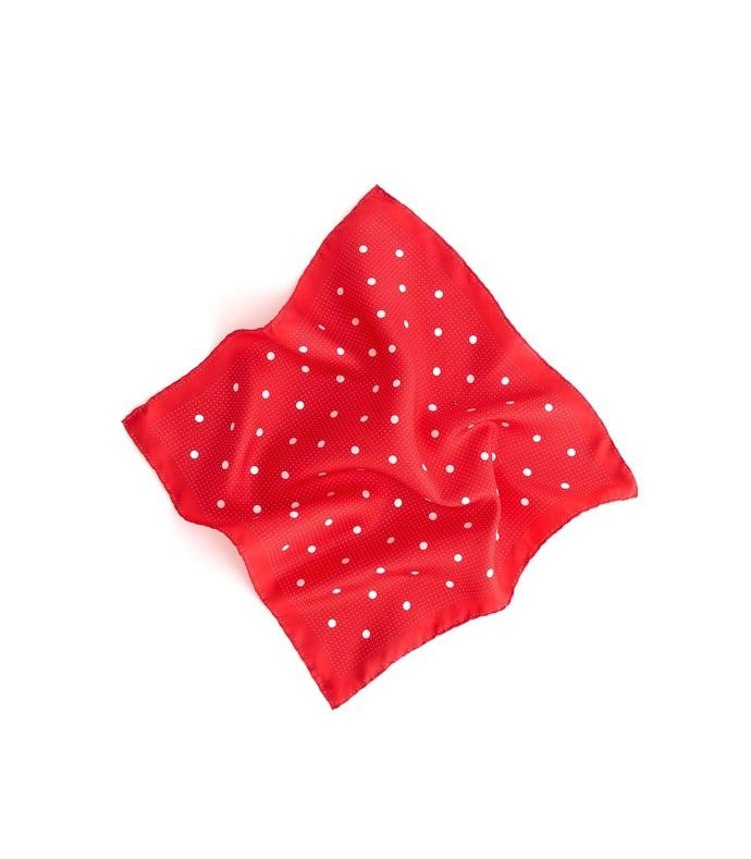 multi dots silk scarf in ecru/tomato
