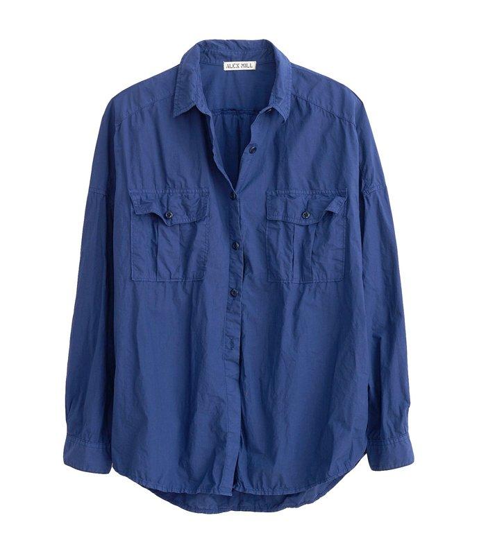oversized garment dyed shirt in navy