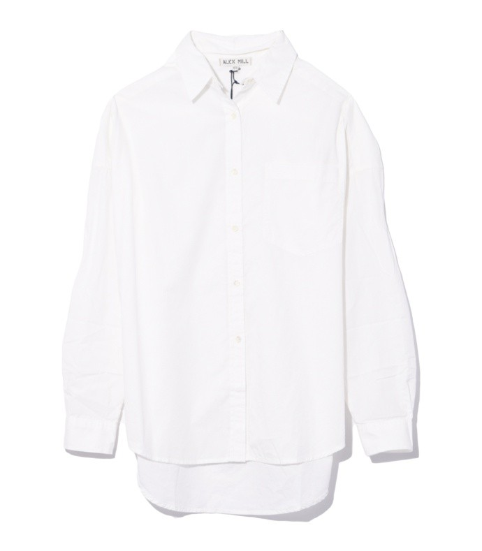 oversized shirt with removable collar in white
