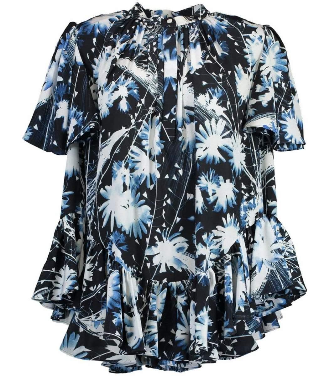 Alexander Mcqueen Ruffled A-Line Print Shirt