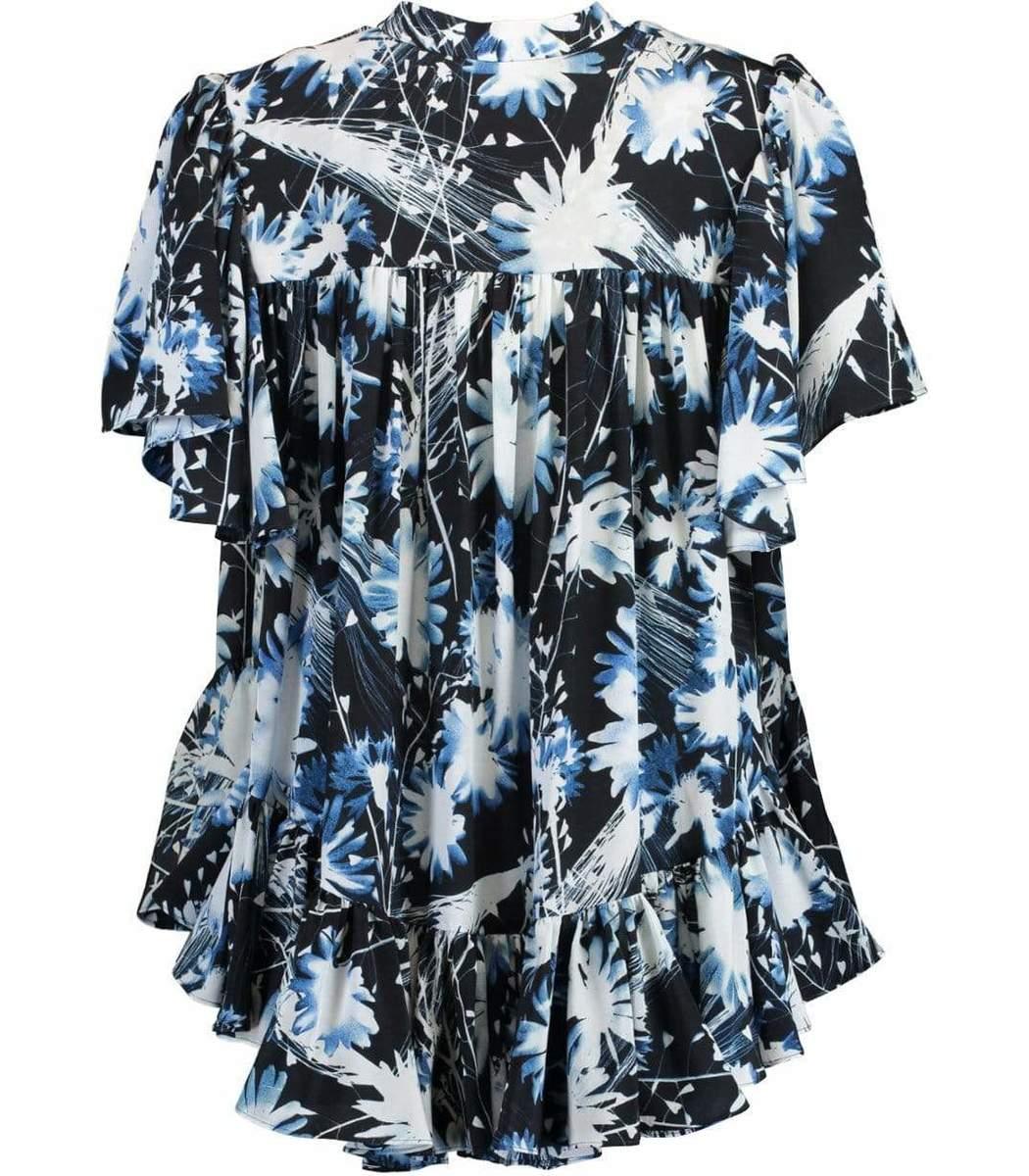 ALEXANDER MCQUEEN Tops Ruffled A-Line Print Shirt