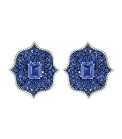 blue sapphire lotus earrings
