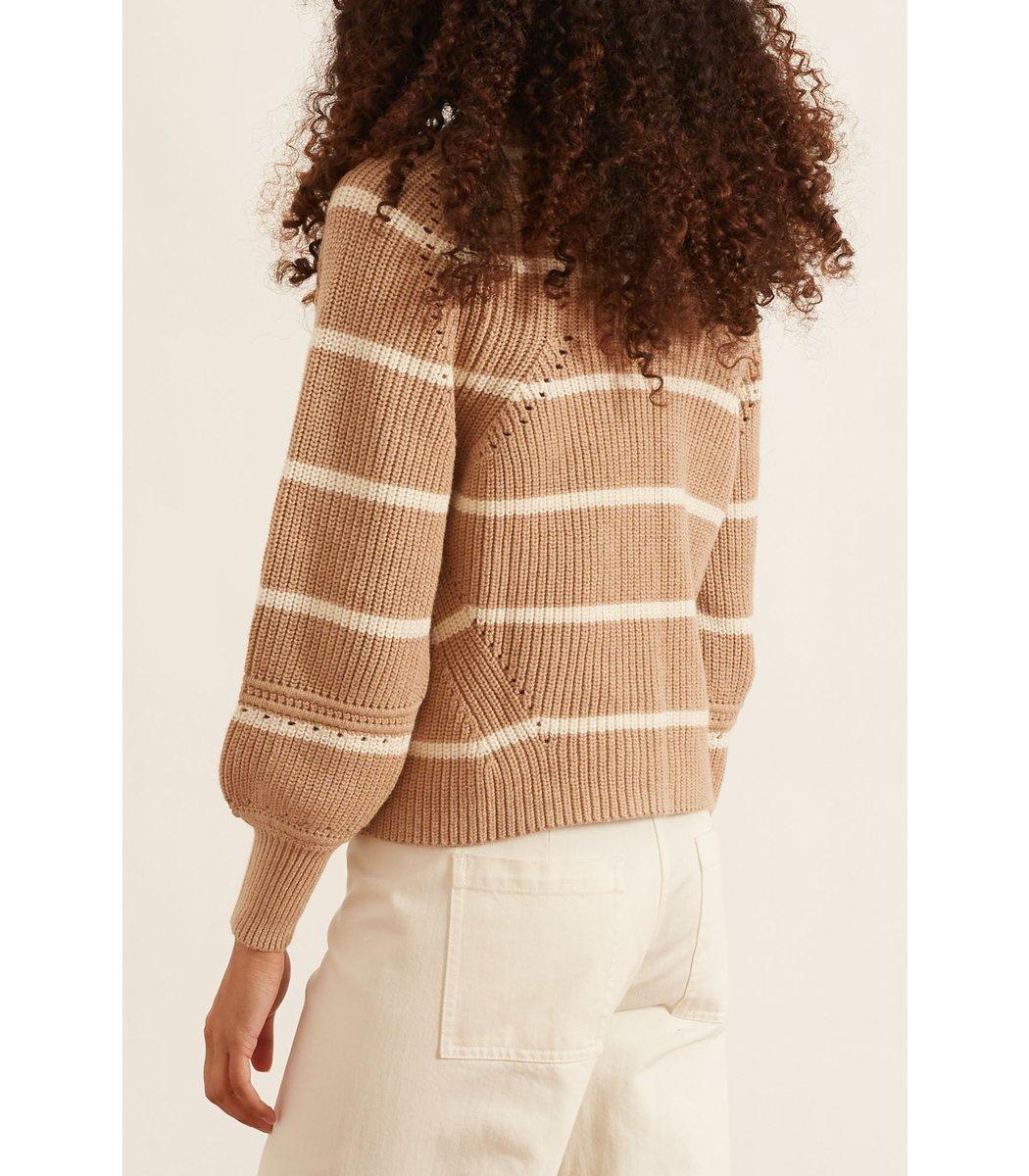 APIECE APART Knits Celeste Crop Knit in Cream Camel Stripe