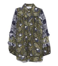 multicolor basil sombras floral bravissima ruffle sleeve blouse