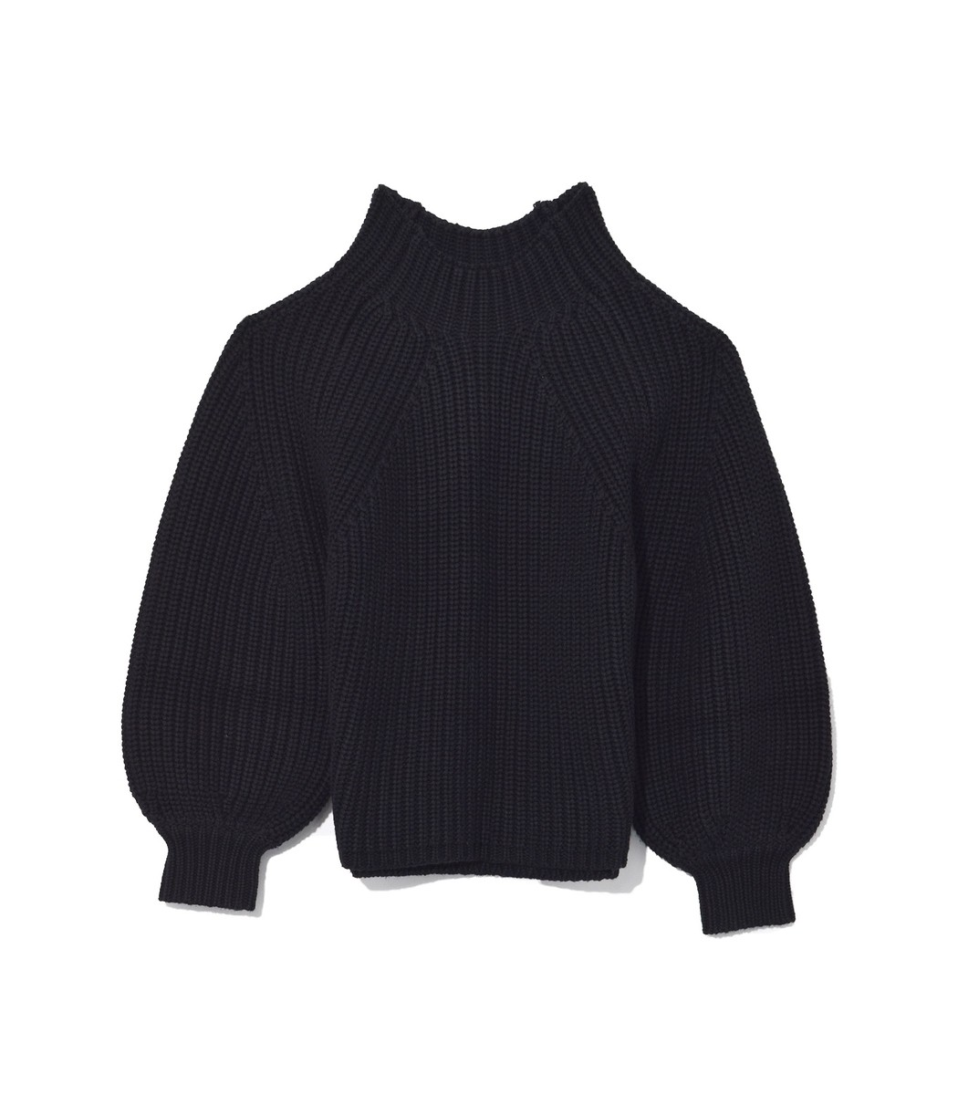 APIECE APART Merel Funnel Neck Crop Sweater in Black