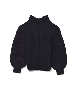 merel funnel neck crop sweater in black