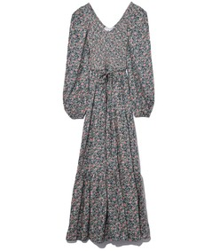 multicolor olivas basil day flora smocked maxi dress