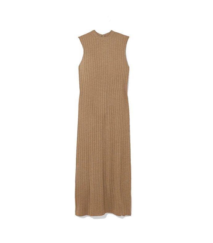 andrott sleeveless ribbed ixed knit dress