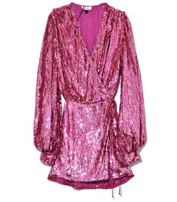 pink all over sequins dress