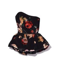 black floral printed velvet bustier top