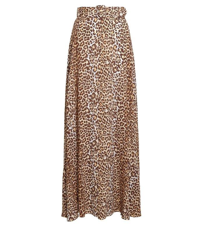 brightside midi skirt in leopard