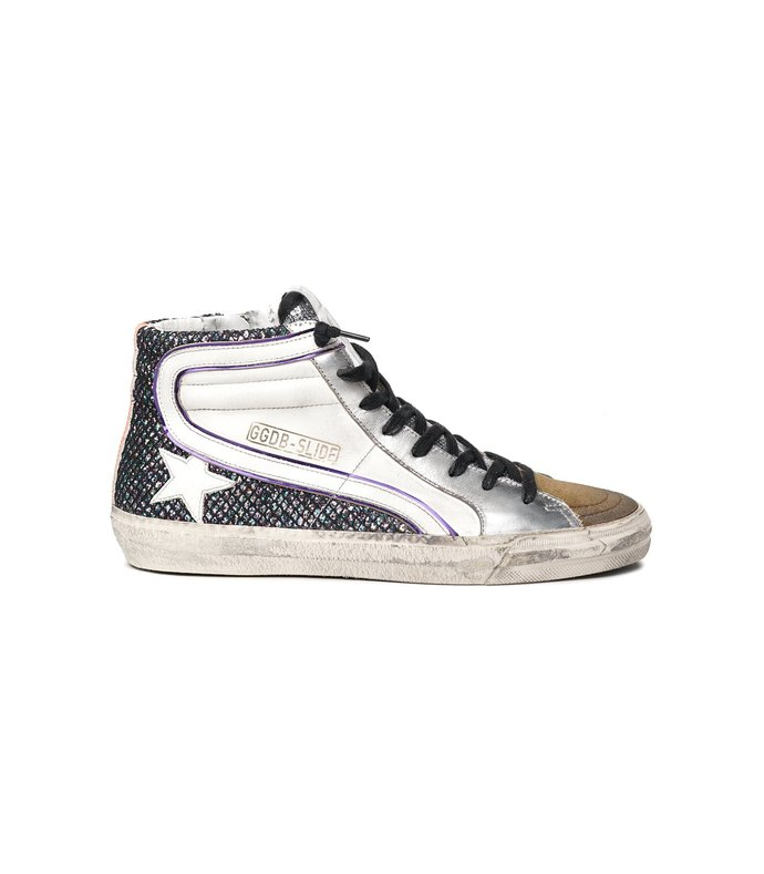 slide sneaker in white/multicolor/tobacco/orange fluo