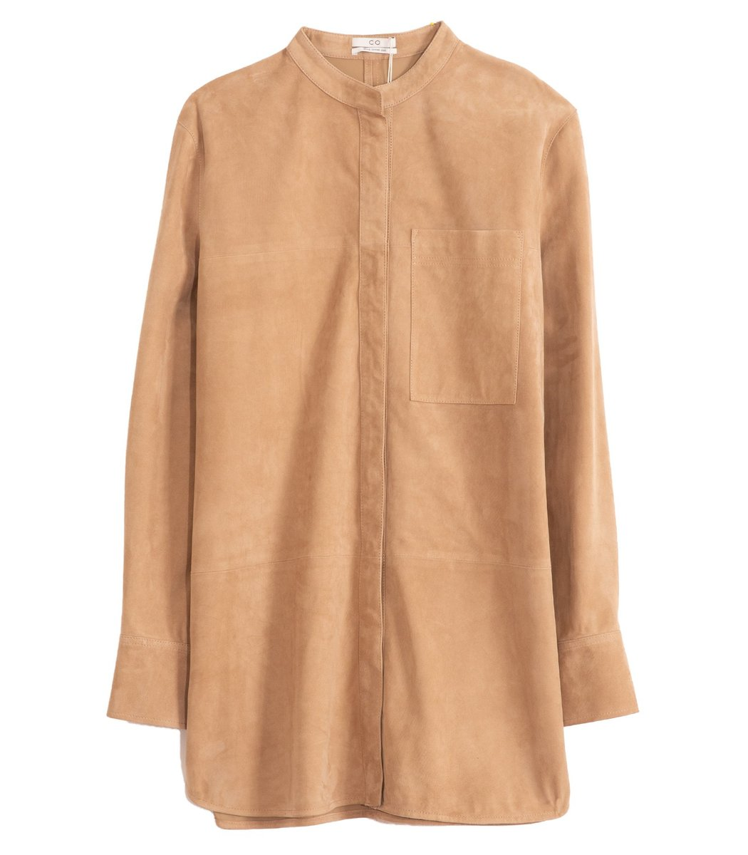 Co Suede Button Down Shirt In Taupe In Neutrals