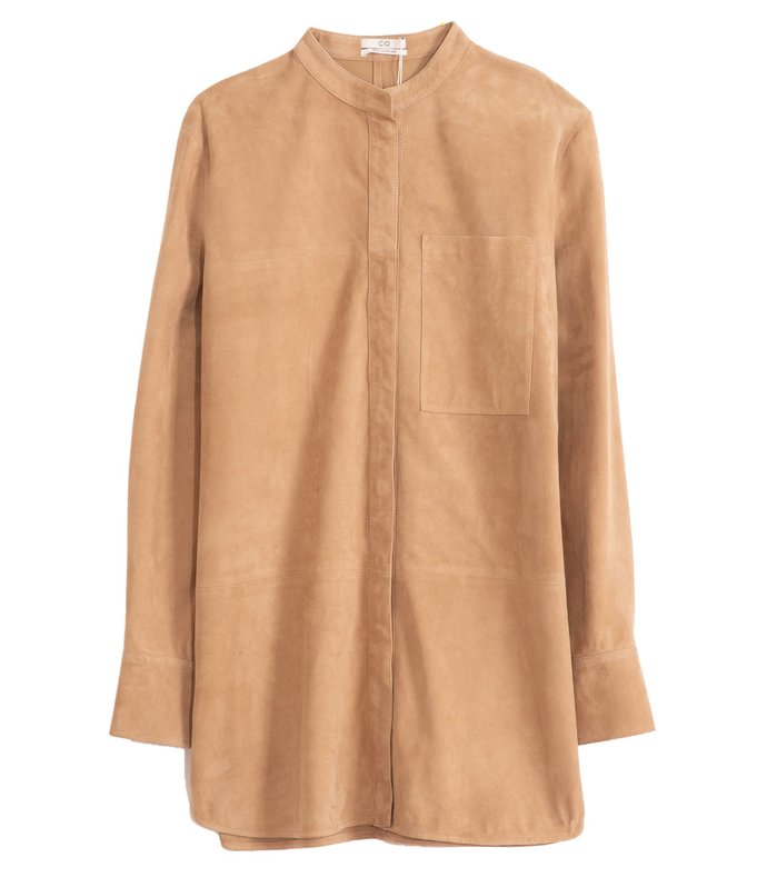 suede button down shirt in taupe