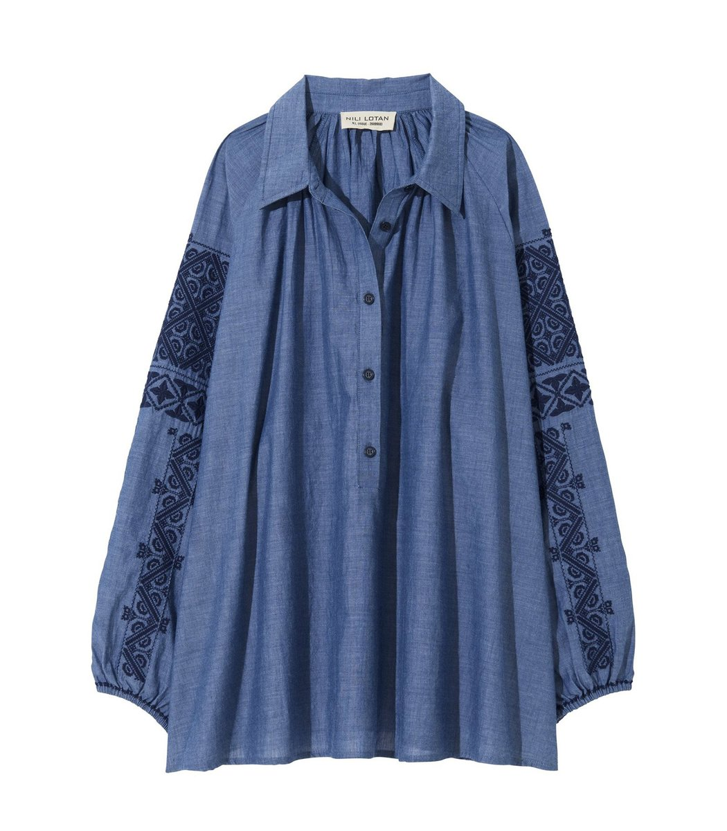 Nili Lotan Abby Romanian Embroidered Top in Chambray/Navy