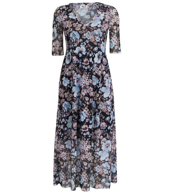 janeth dress in blue navy floral
