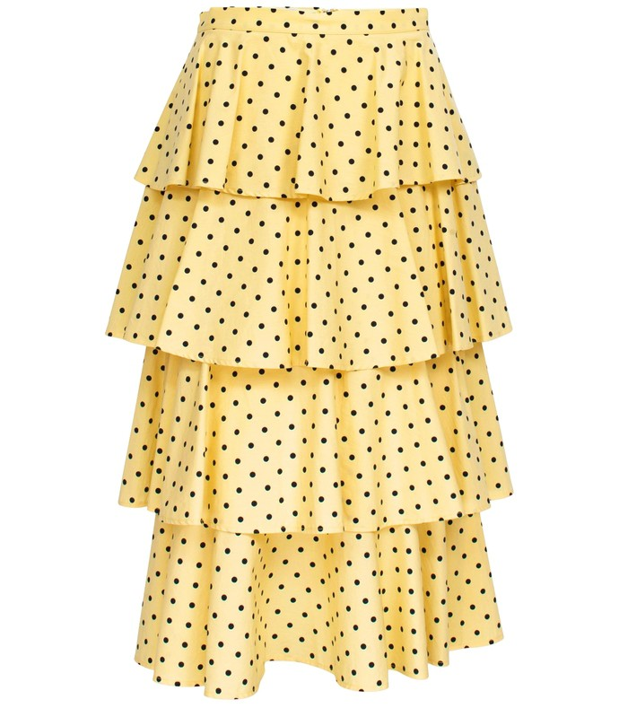 scarlet skirt in lemon blue polka