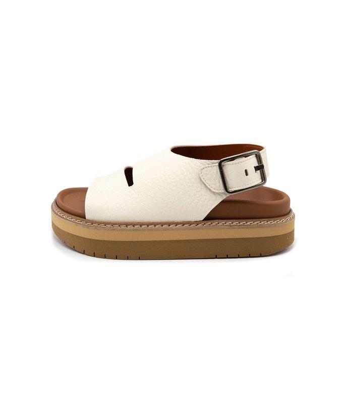 fame platform leather sandals in off white