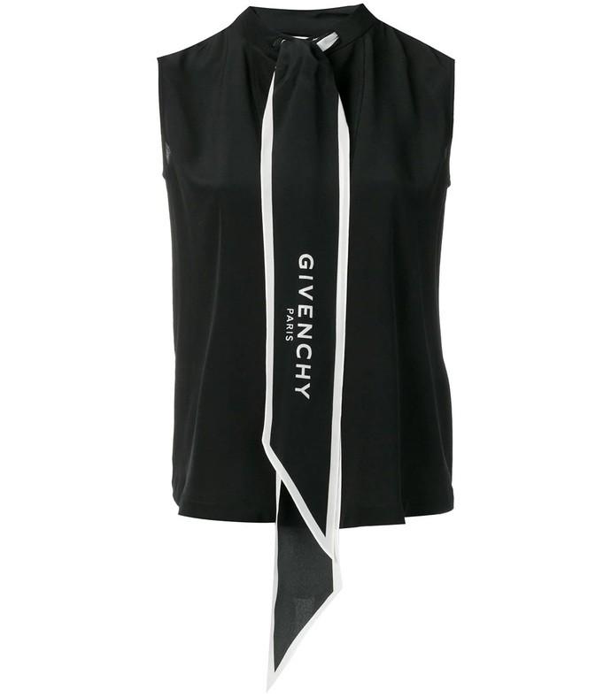 logo print scarf vest