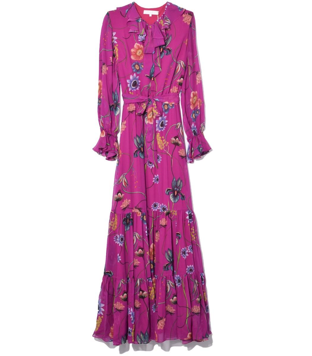 Borgo De Nor Anna Georgette Dress in Fuschia