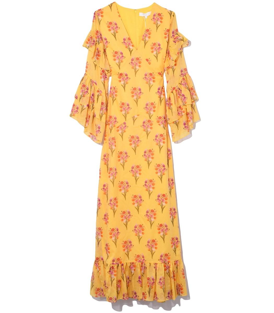 Borgo De Nor Long Luna Cotton Voile Dress in Yellow