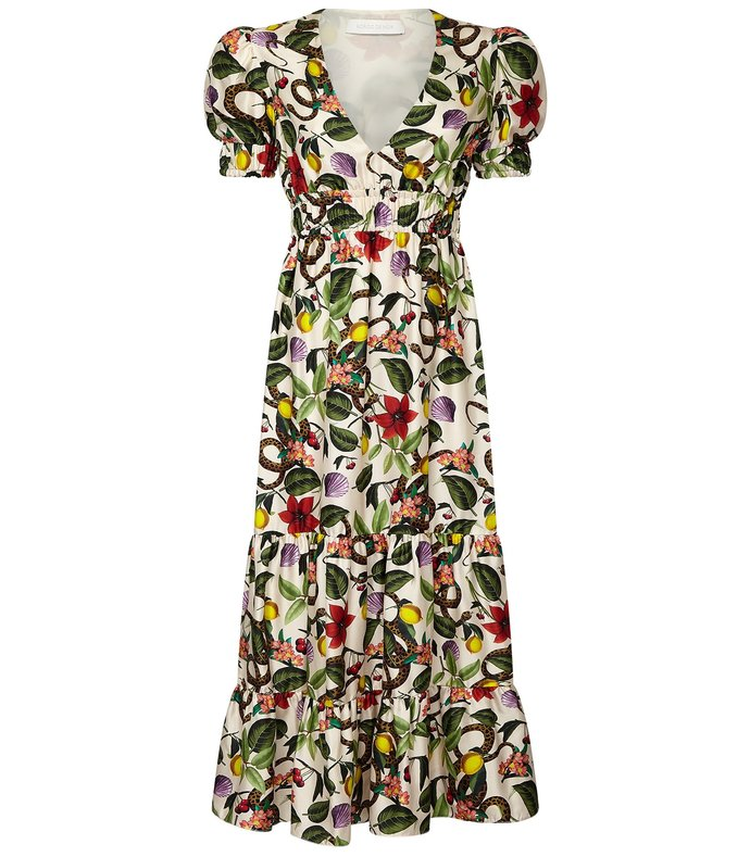 lucia elastic waist dress in tropical garden/ivory