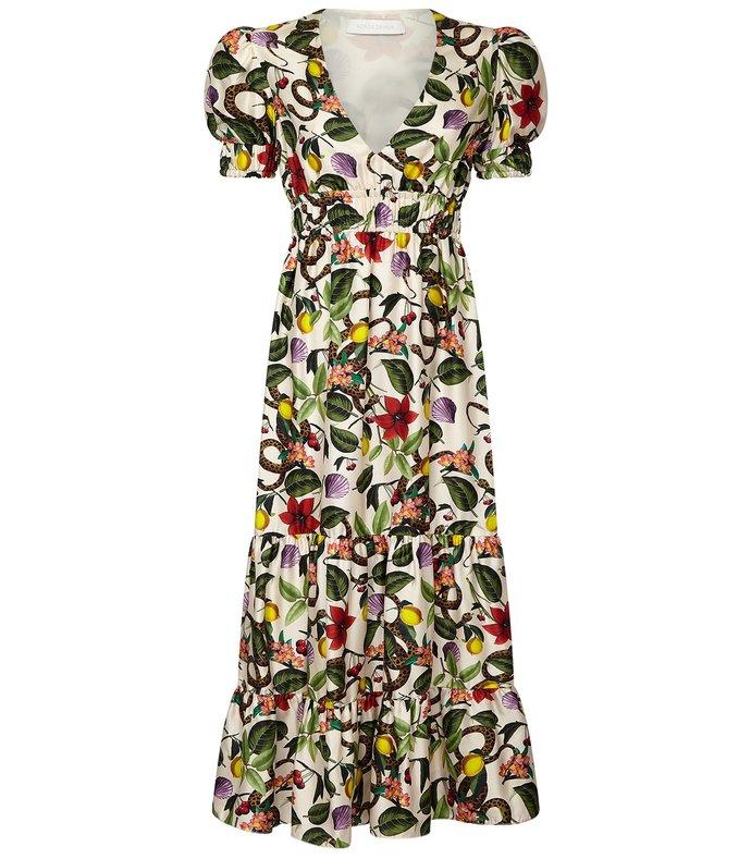 lucia elastic waist dress in tropical garden/ivory