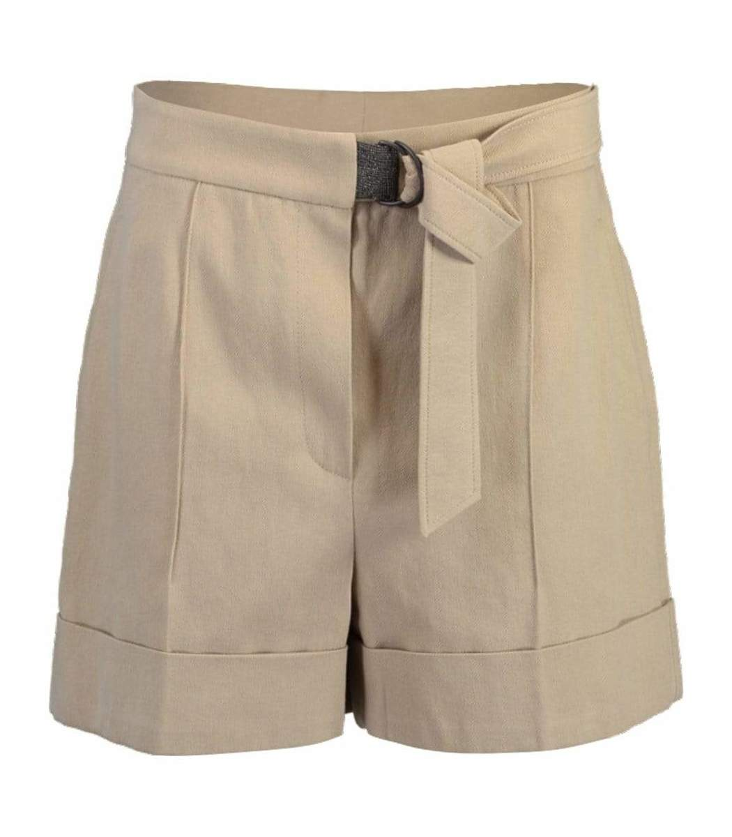 Brunello Cucinelli Belted High-Rise Drill Shorts
