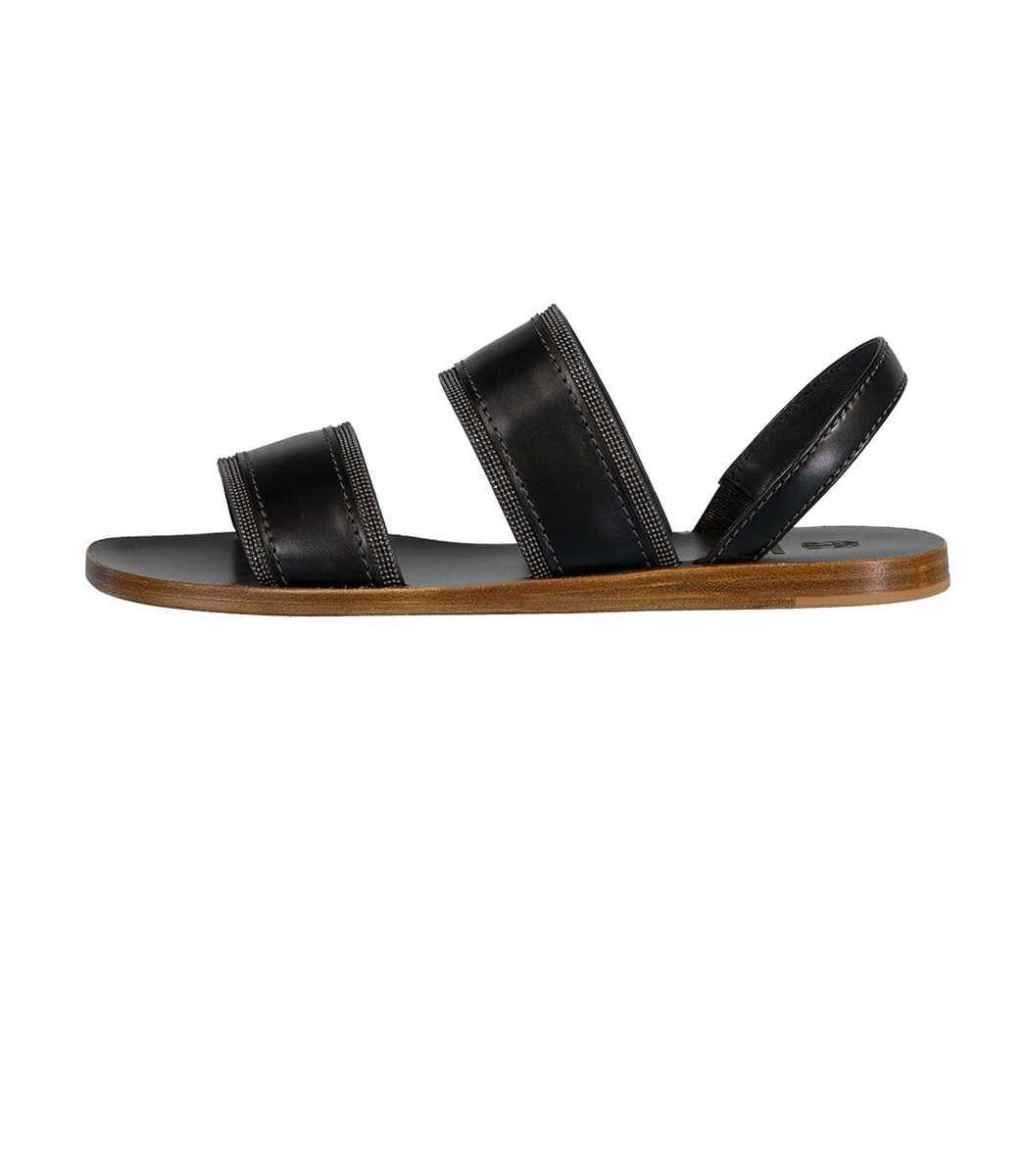 Brunello Cucinelli Black Strap Flat Sandal