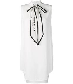 white logo bow tie dress