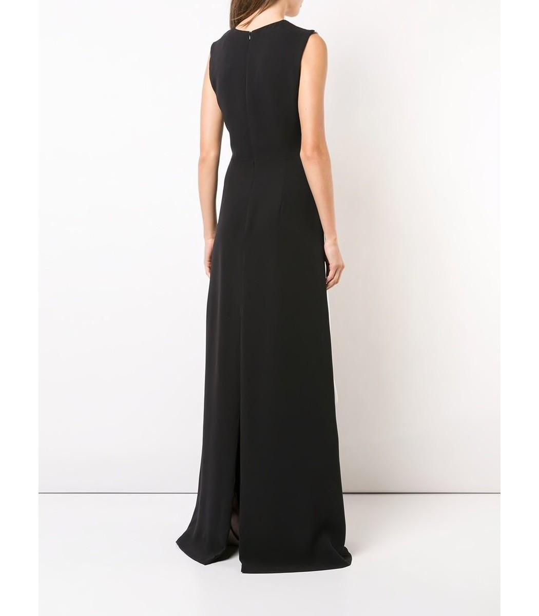 Carolina Herrera Paneled Gown - Black & White Silk Gown