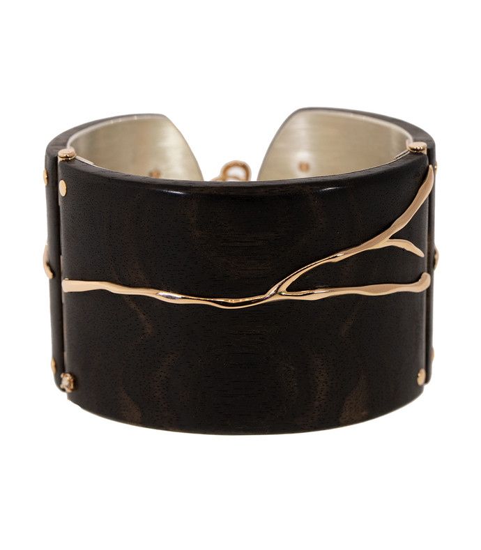 alba ebony wood and diamond cuff