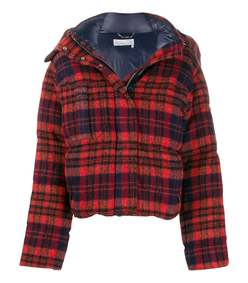 red check print puffer jacket