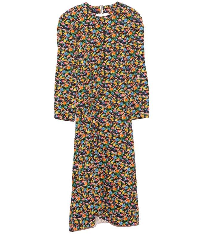 sabine floral scallop sleeve long dress in black multi