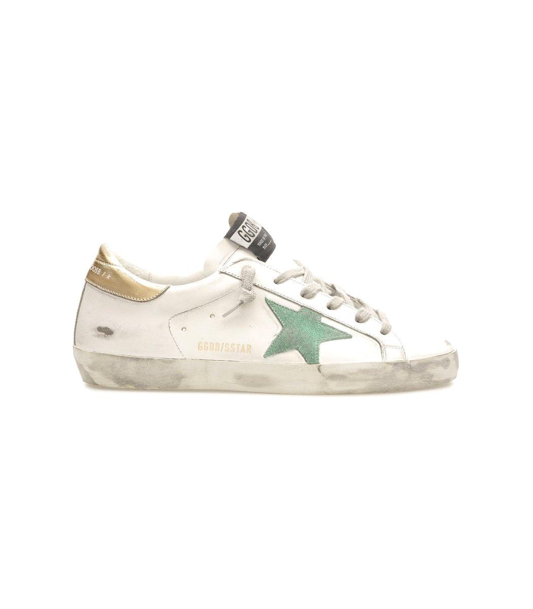 Golden Goose Superstar Sneaker in White/Green/Gold