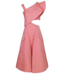 pink espelette asymmetric dress