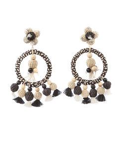 multicolor oversized woven tassel earrings