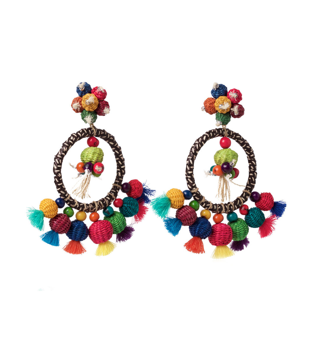 CASA CHIQUI Multicolor Oversized Woven Multicolor Earrings