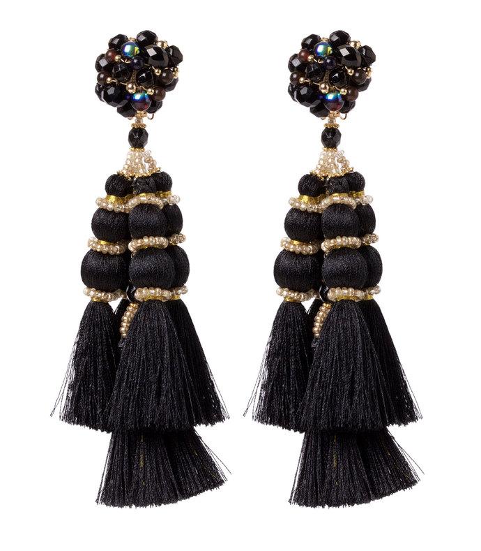 black embellished tassel earrings