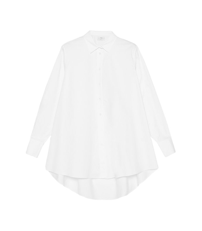 flared button down shirt in white