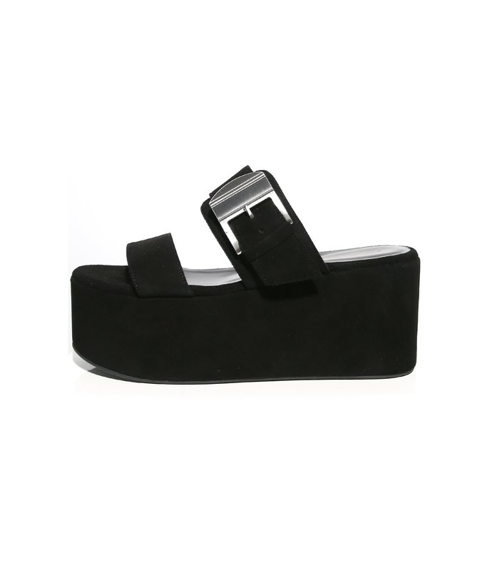 coaster platform sandal in black