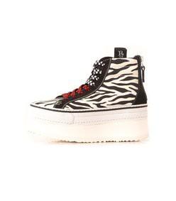 high top skate platform sneaker in grey zebra/black suede