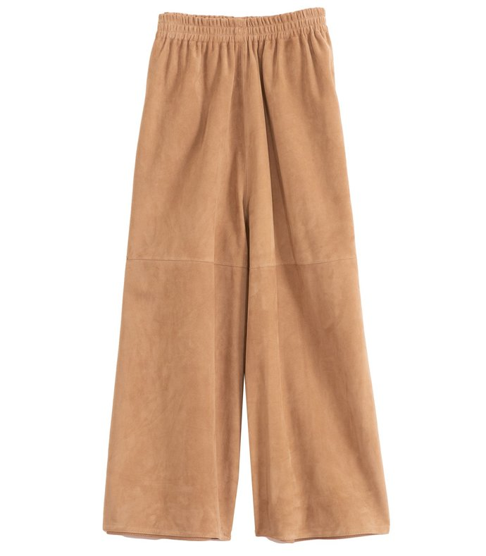 suede wide leg cropped pant in taupe