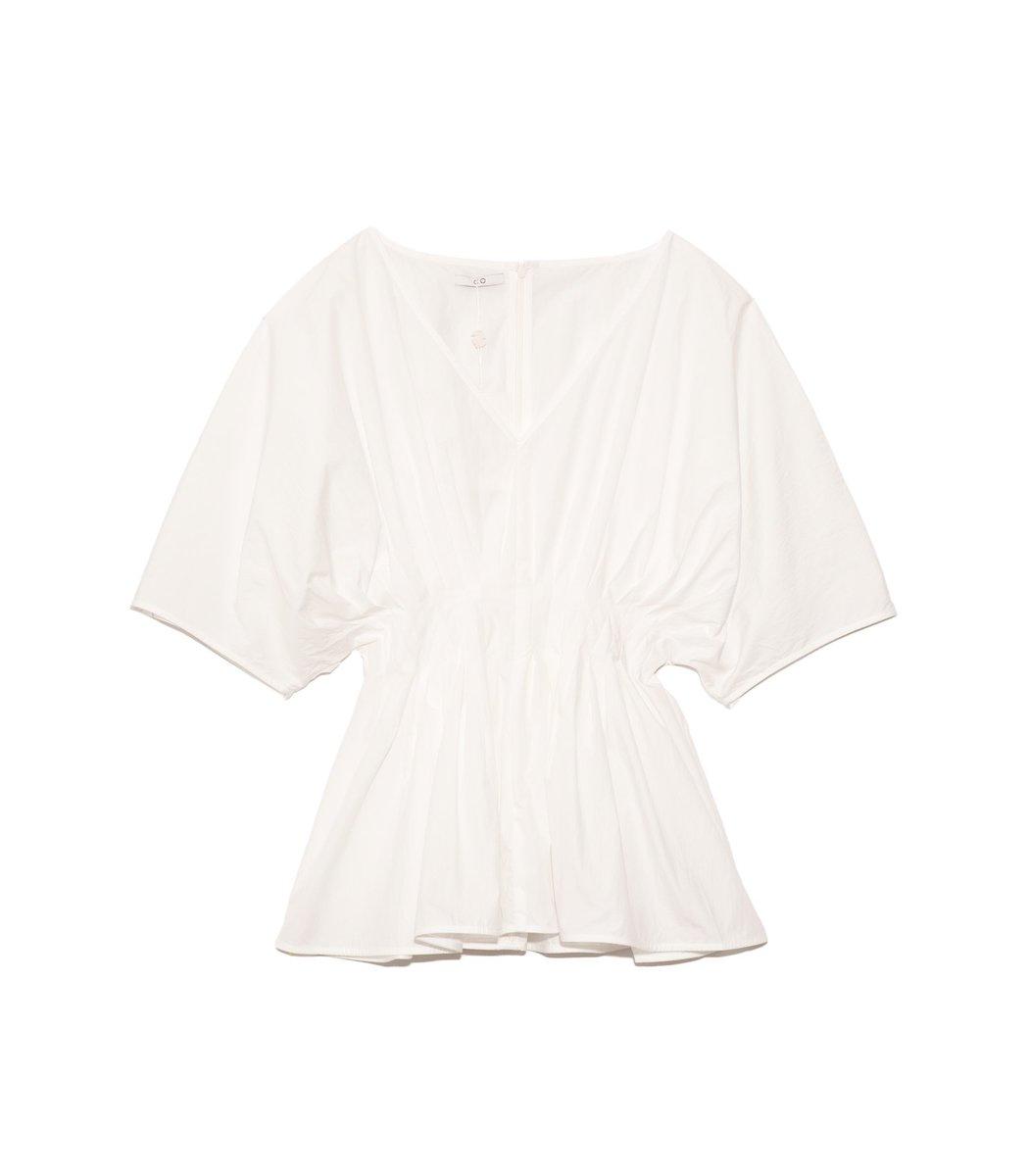Co Cottons Tucked Waist V-Neck Blouse in White