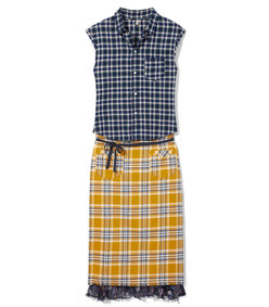 apron prairie dress in navy/yellow plaid combo