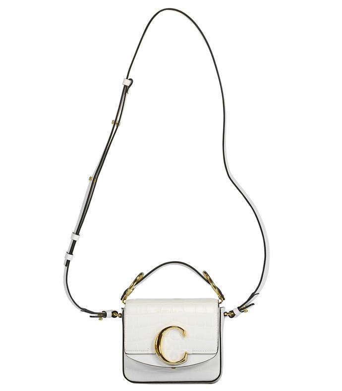 white croco effect mini chloe c bag