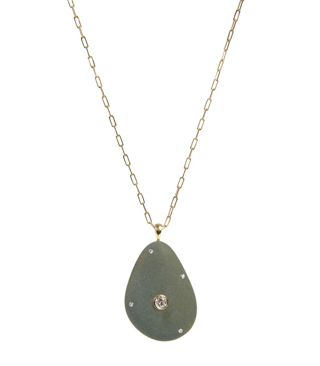 Cvc Stones Chipper Stone And Diamond Necklace
