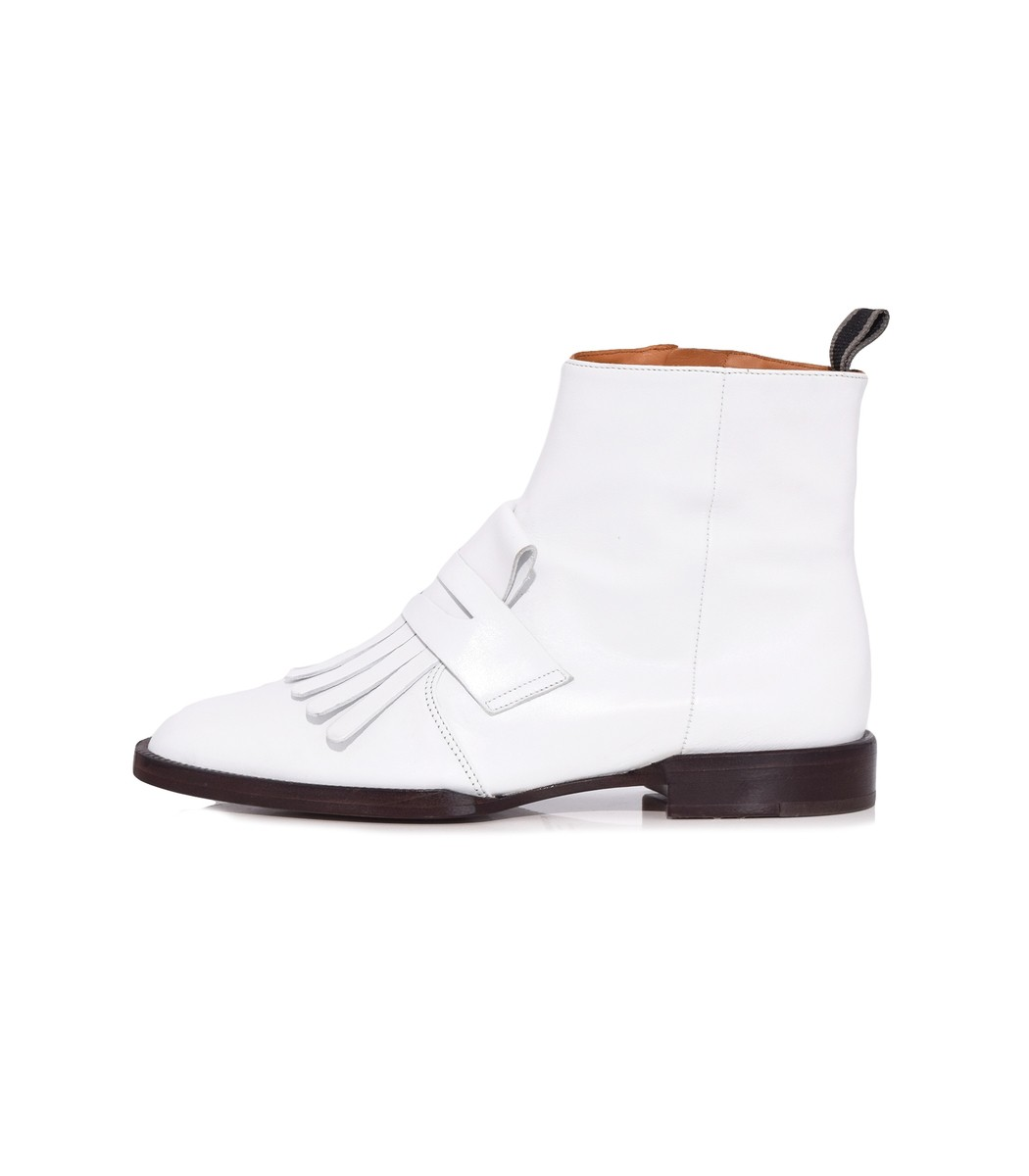 CLERGERIE Yousc Leather Ankle Boots - White Size 7.5