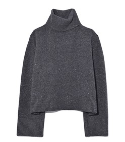 boxy turtleneck sweater in speckled charcoal